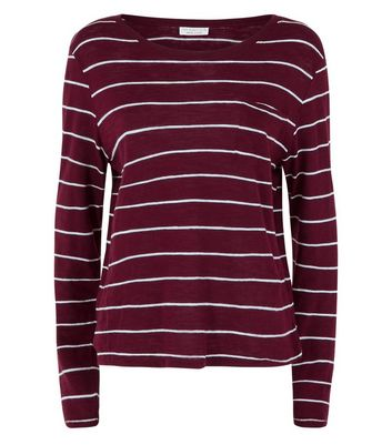 Burgundy Stripe Organic Cotton Long Sleeve T-Shirt New Look