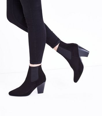 Wide Fit Black Suedette Pointed Western Boots New Look