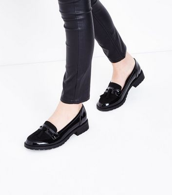 Teens Black Patent Chunky Sole Loafers New Look