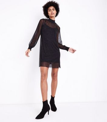 Black Mesh Spot Funnel Neck Tunic Dress New Look
