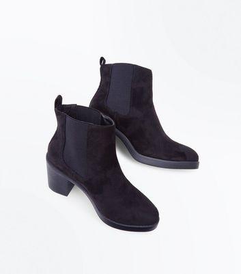 Wide Fit Black Suedette Block Heel Chelsea Boots New Look