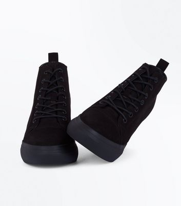 Black Suedette Lace Up Wedge Trainers