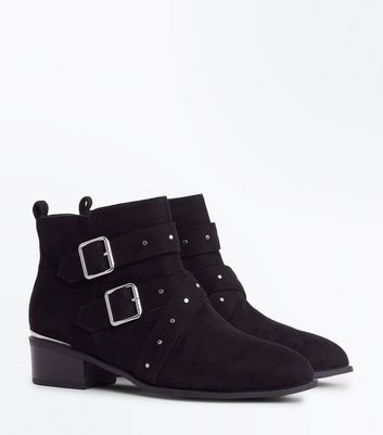 Wide Fit Black Suedette Stud Buckle Ankle Boots New Look