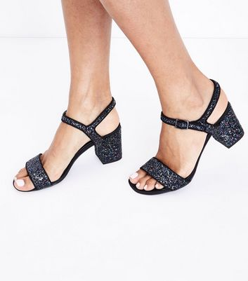 Teens Navy Glitter Heeled Sandals New Look