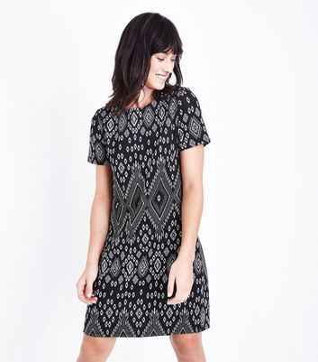 Black Diamond Print Tunic Dress New Look