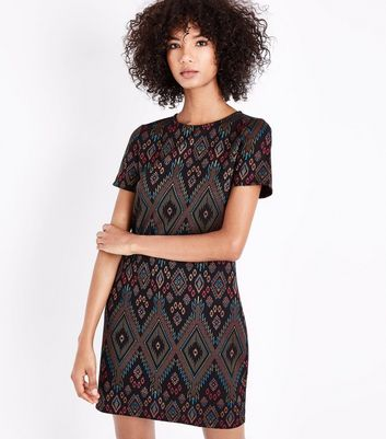 Multi Colour Diamond Print Tunic Dress New Look