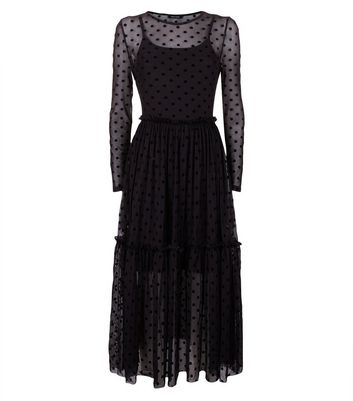 Black Flocked Spot Mesh Frill Waist Midi Dress New Look