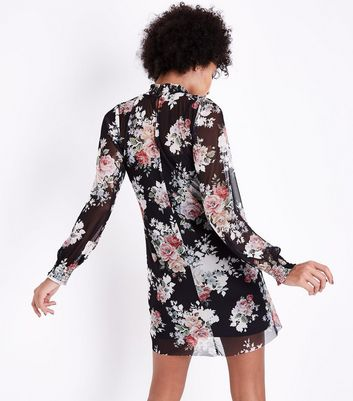 Black Floral Mesh High Neck Mini Dress New Look