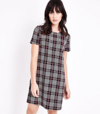 Grey Check Print Jersey Tunic Dress New Look