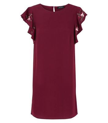 Burgundy Embroidered Frill Sleeve Tunic Dress New Look