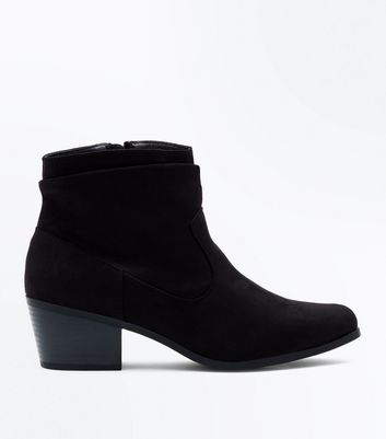 Black Suedette Slouch Western Boots New Look