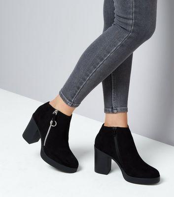 Black Suedette Block Heel Zip Side Boots New Look