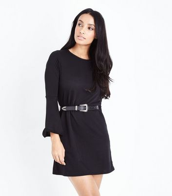 Black Flared Sleeve Jersey Tunic Dress New Look