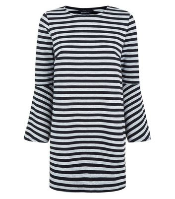 Black Stripe Bell Sleeve Tunic New Look