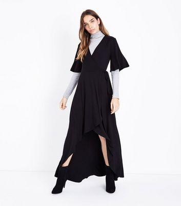 Black Wrap Front Dip Hem Jersey Maxi Dress New Look