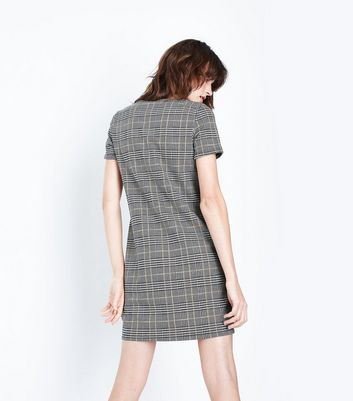 Black Check Tunic Dress New Look