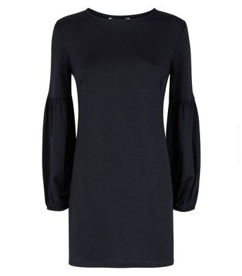 Black Balloon Sleeve Jersey Tunic Dress New Look