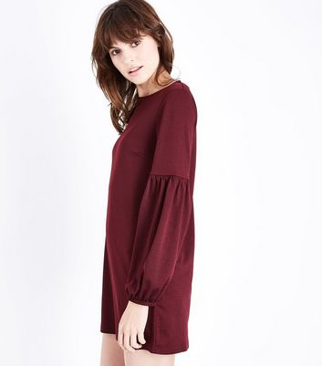 Burgundy Balloon Sleeve Jersey Tunic Dress New Look