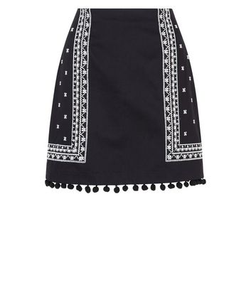 Black Embroidered Pom Pom Hem Mini Skirt New Look
