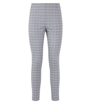 Light Grey Check Leggings New Look