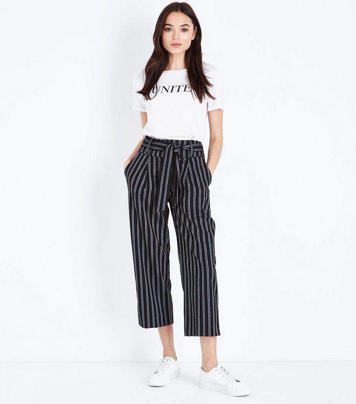 af00eb61 Black Stripe Tie Waist Cropped Trousers | New Look