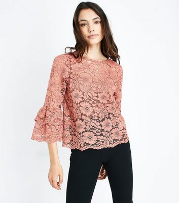 Pink Floral Lace Tiered Sleeve Top New Look