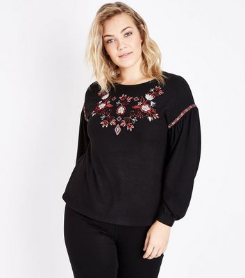 Curves Black Embroidered Balloon Sleeve Jumper New Look