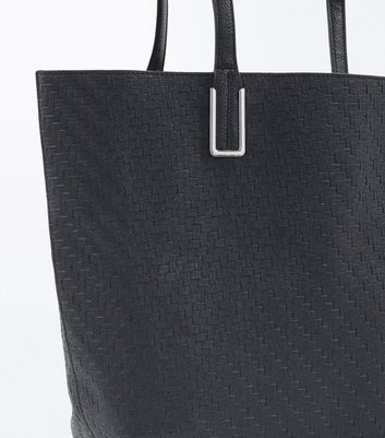 Black Tassel Front Woven Tote Bag New Look