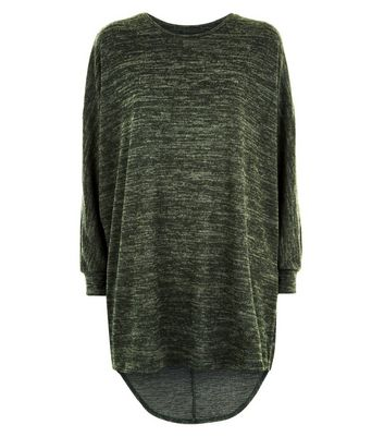 Khaki Brushed Batwing Sleeve Top New Look