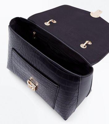 Black Faux Snake Skin Top Handle Satchel Bag New Look