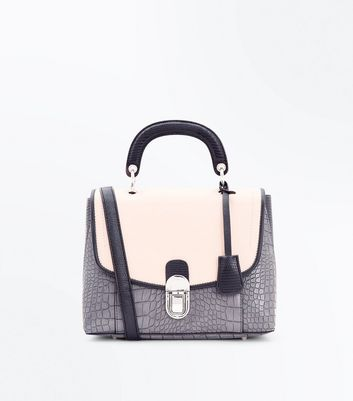 Dark Grey Faux Snake Skin Top Handle Satchel Bag New Look