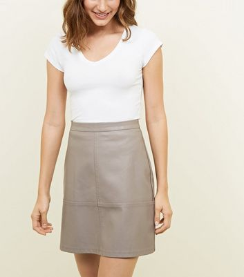 Tall Mink Leather-Look Mini Skirt