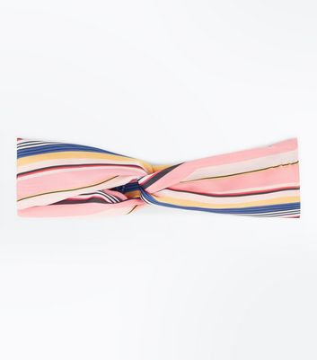 Pink Stripe Twist Hairband New Look