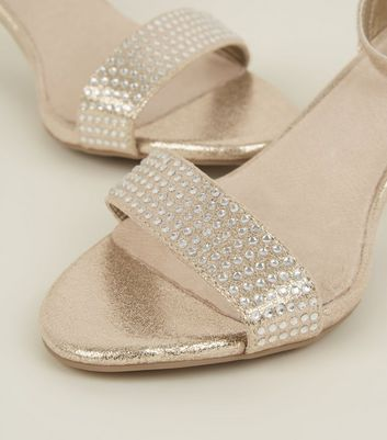 Wide Fit Gold Comfort Flex Diamante Strap Kitten Heels New Look