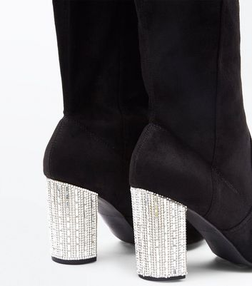 Wide Fit Black Suedette Embellished Heel Over the Knee Boots New Look