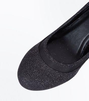 Black Glitter Mesh Trim Round Toe Courts New Look