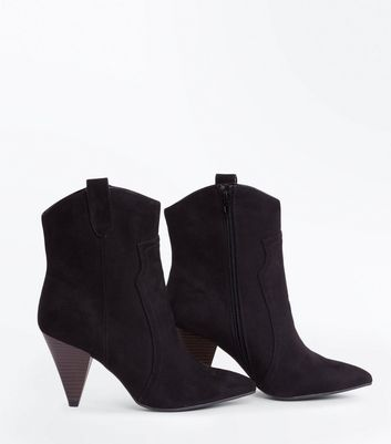 Wide Fit Black Suedette Cone Heel Western Boots New Look