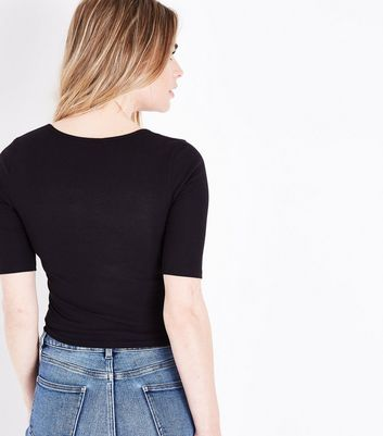 Black Ribbed Lace Up 1/2 Sleeve Top New Look