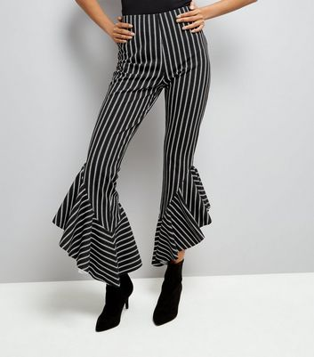 Cameo Rose Black Stripe Frill Hem Trousers New Look