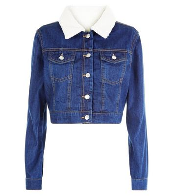 Parisian Blue Borg Trim Cropped Denim Jacket New Look