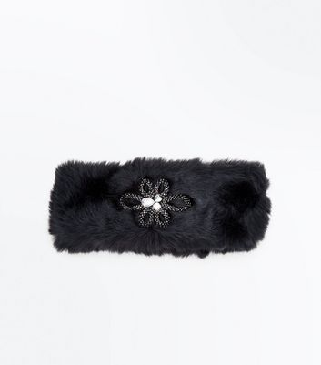 Black Embellished Front Faux Fur Headband New Look