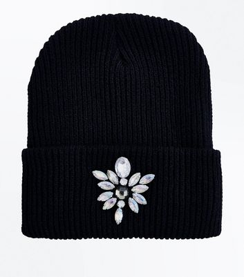 Black Embellished Front Beanie New Look
