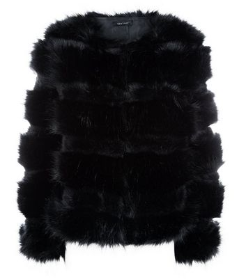 Black Pelted Faux Fur Jacket New Look