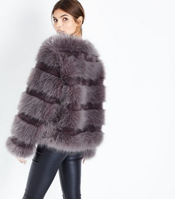 Grey Pelted Faux Fur Jacket New Look