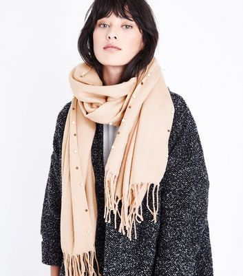 Nude Pearl Trim Scarf New Look