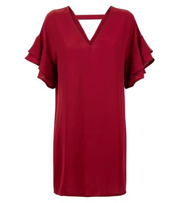 Red Frill Sleeve Bar Back Tunic Dress New Look