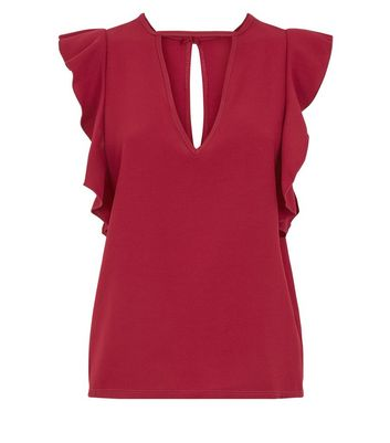 Mela Burgundy Frill Sleeve Cut Out Front Blouse New Look