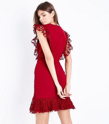 Mela Burgundy Lace Frill Sleeve Dress New Look