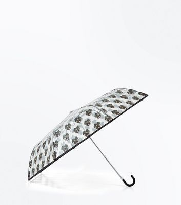 Clear Pug Print Crook Handle Umbrella