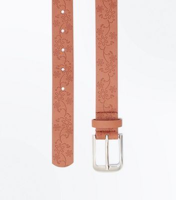 Tan Floral Embossed Belt New Look